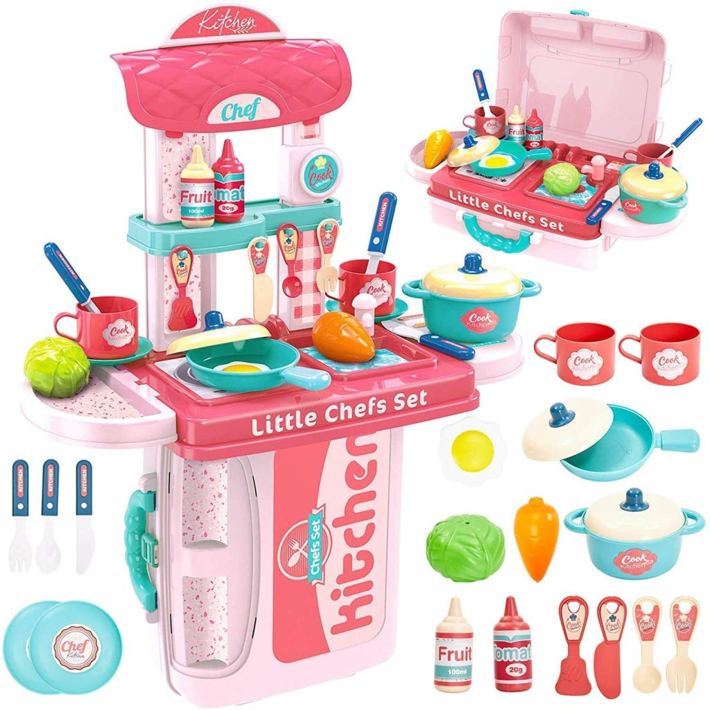 Gopinath Trade™ 3 in 1 Kitchen Suitcase for Kids Mini Kitchen Play Set Portable Cooking Suitcase Toys Mini Kitchen Play Set for Kids Girls