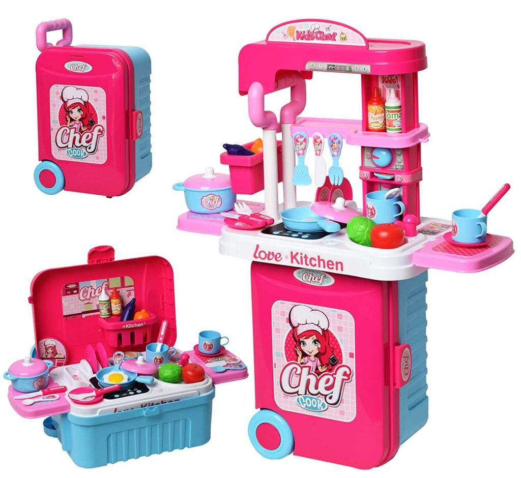 WISHKEY Kitchen Cooking Play Set with Cute Multi-Purpose Portable Suitcase, Induction & Other Accessories for girls